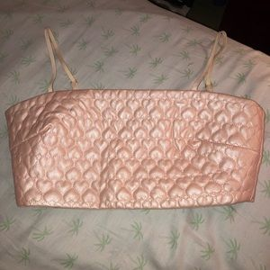Lashes of London quilted pink heart crop top